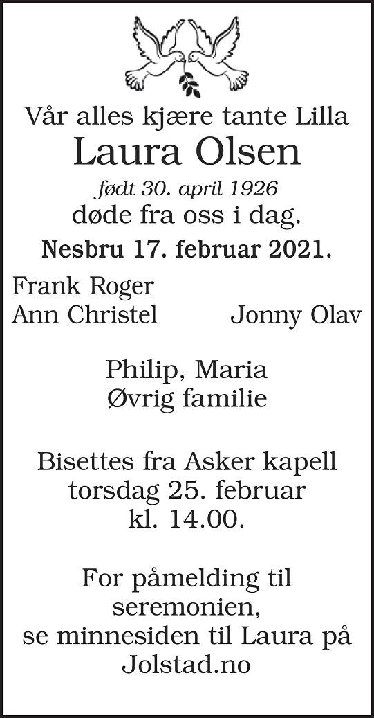 Laura Olsen Dødsannonse