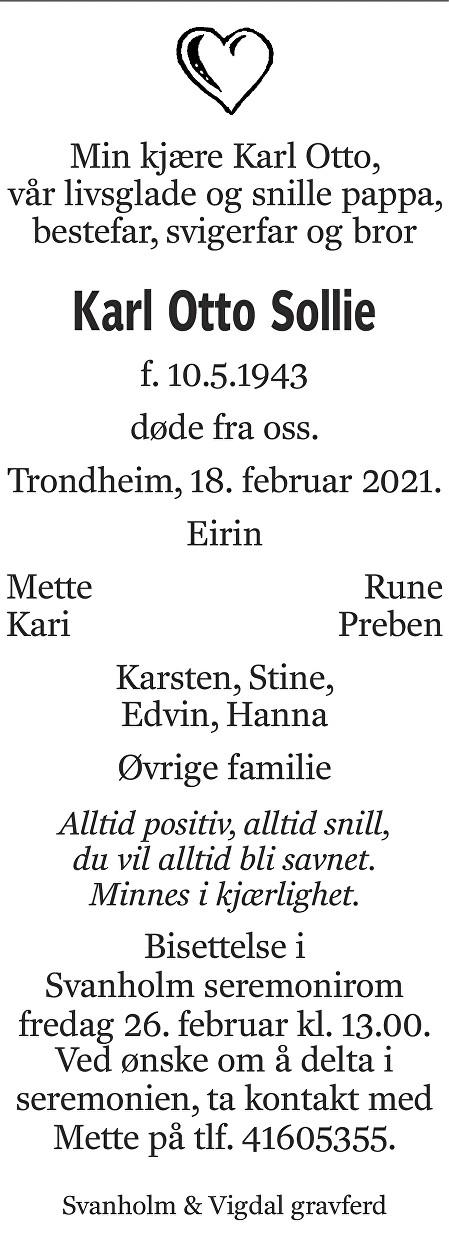 Karl Otto Sollie Dødsannonse