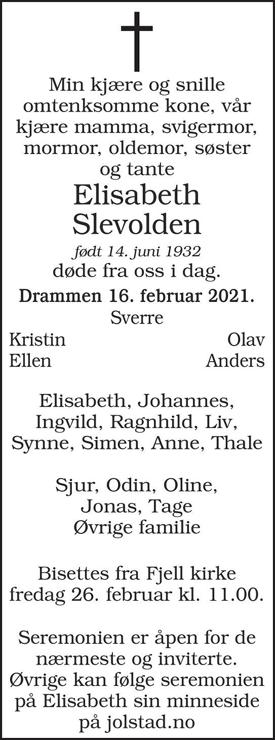 Gunvor Dagny Elisabeth Slevolden Dødsannonse