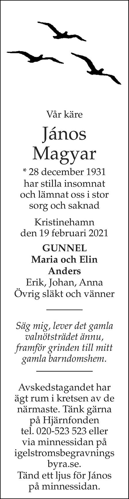 János Magyar Death notice