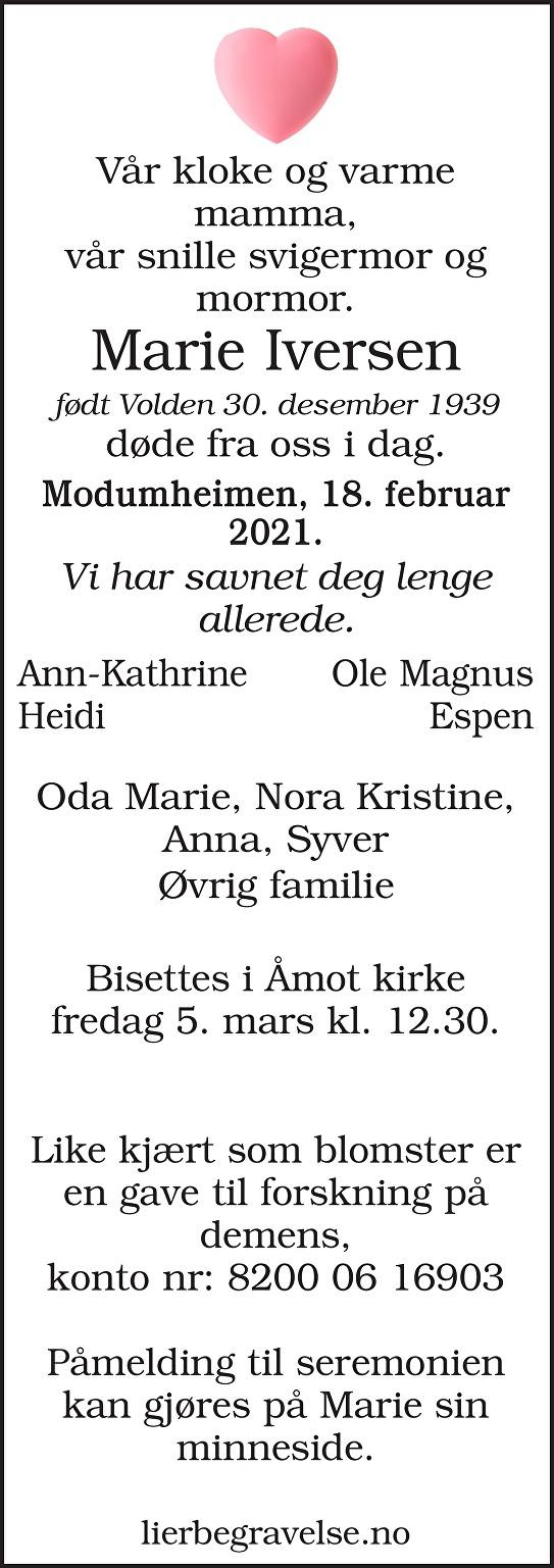Marie Iversen Dødsannonse