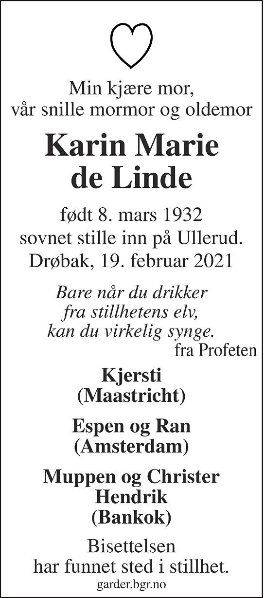 Karin Marie de Linde Dødsannonse