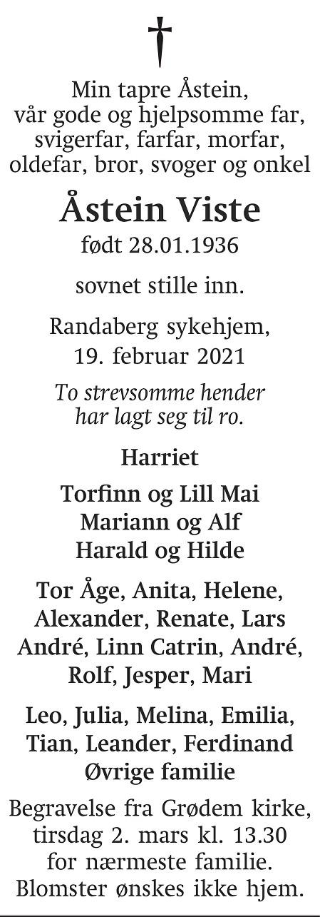 Åstein  Viste Dødsannonse