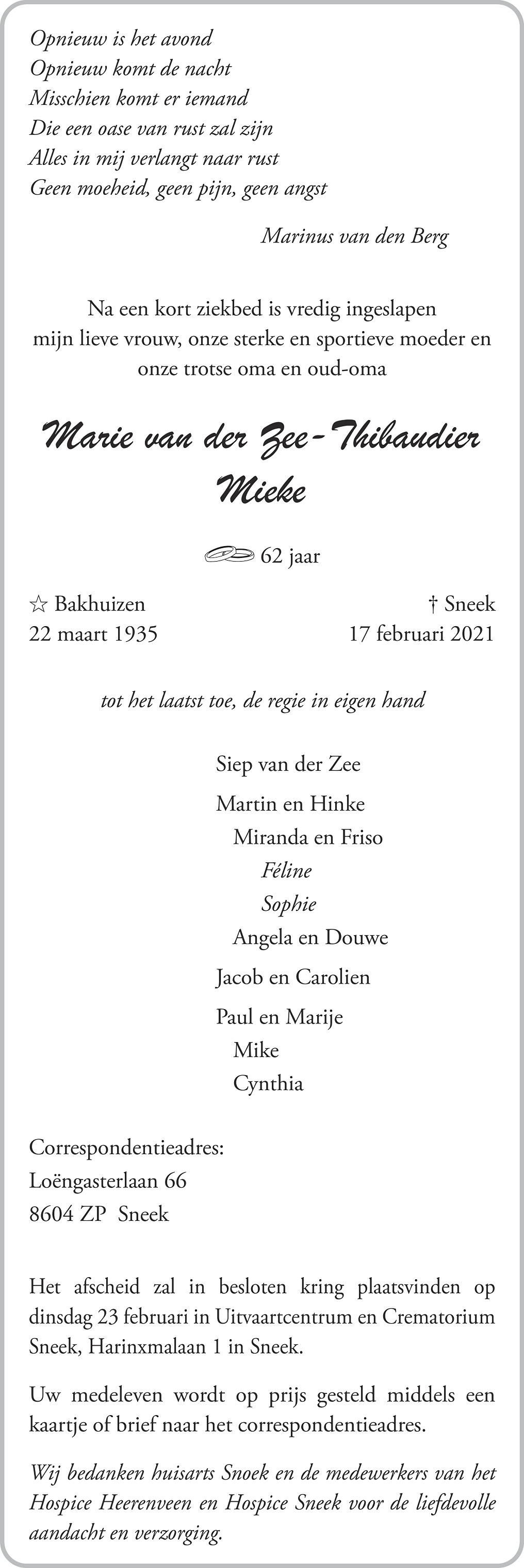 Maria Zee-Thibaudier Death notice