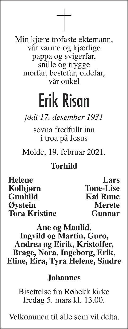 Erik Risan Dødsannonse