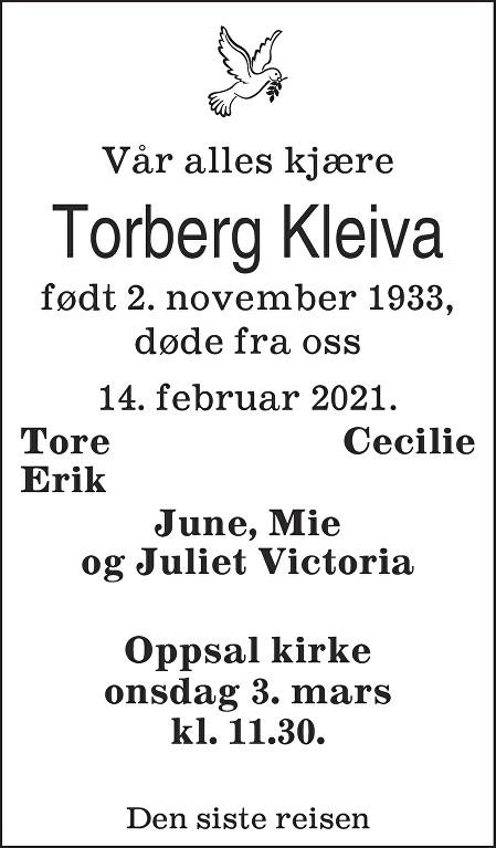 Torberg Kleiva Dødsannonse