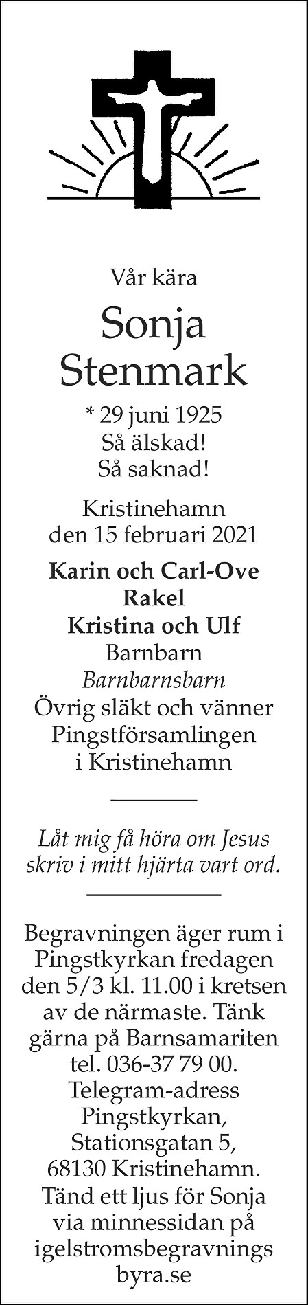 Sonja Stenmark Death notice