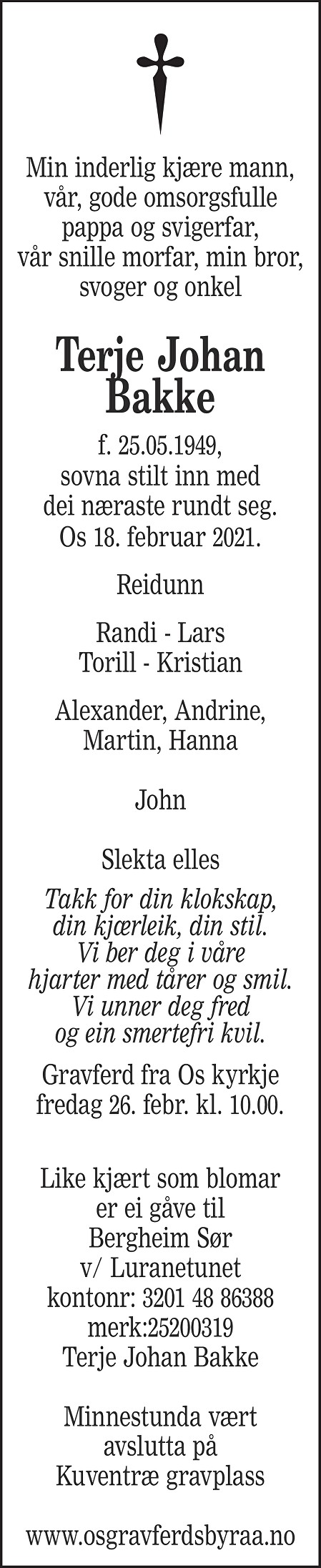Terje Johan Bakke Dødsannonse