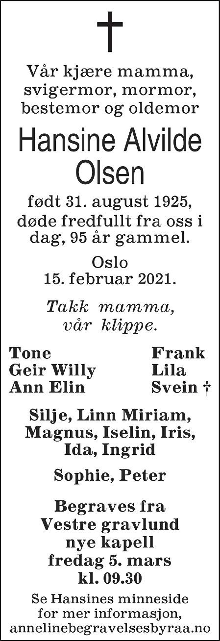 Hansine Alvilde Olsen Dødsannonse