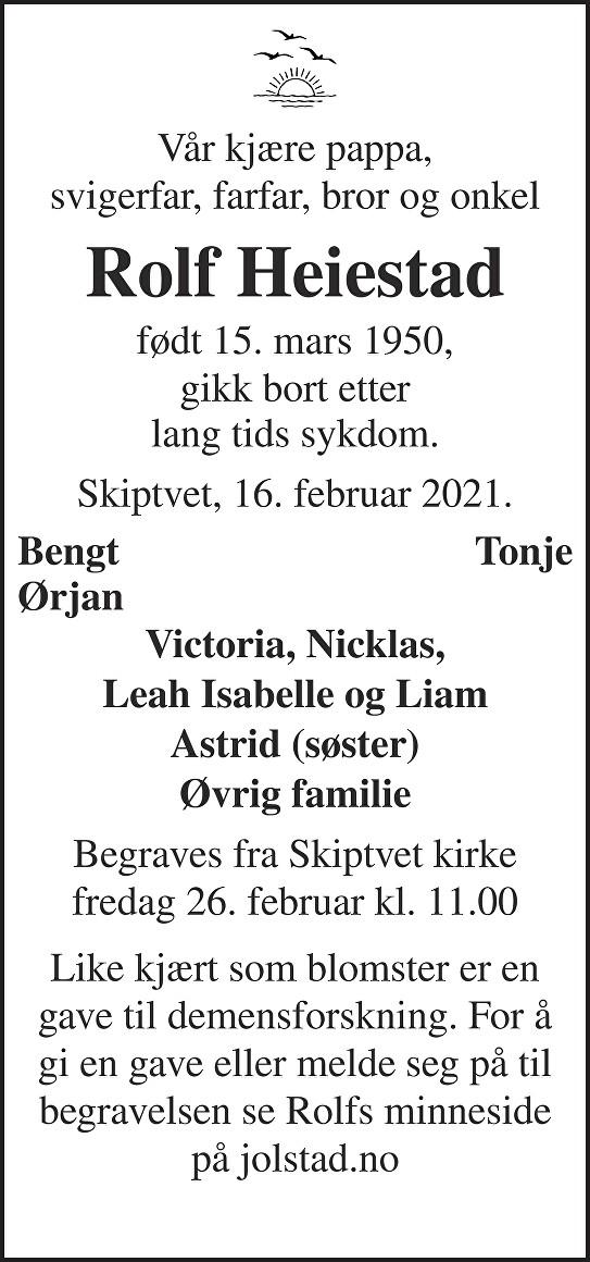 Rolf Heiestad Dødsannonse