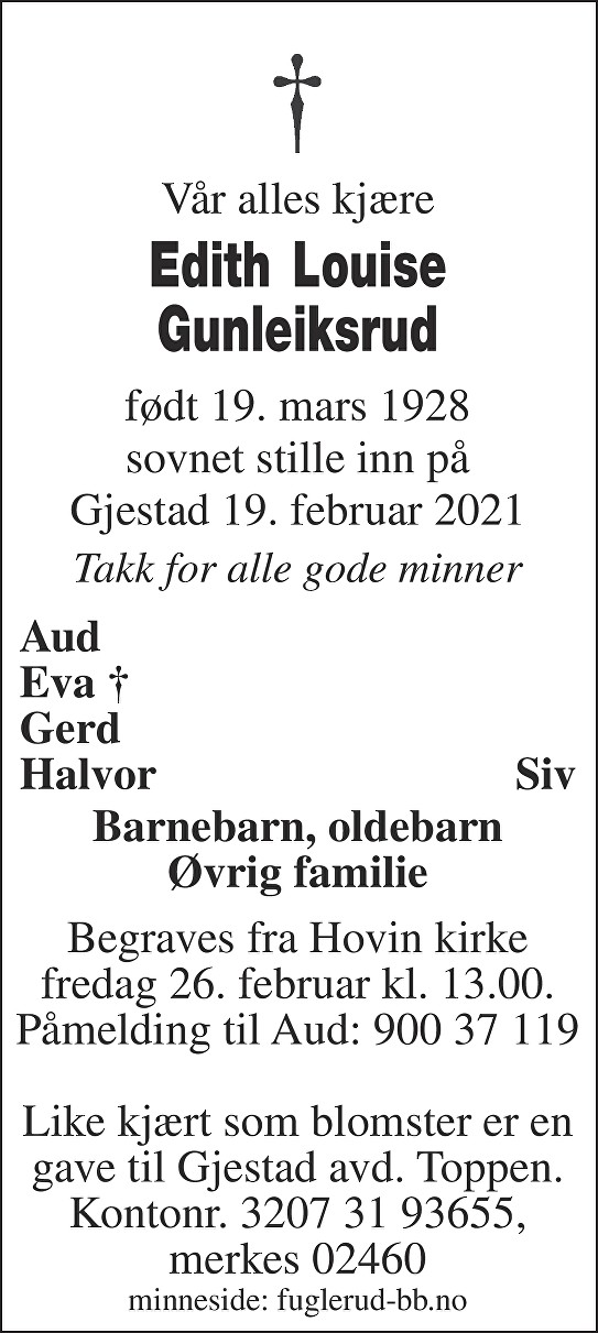 Edith Louise Gunleiksrud Dødsannonse