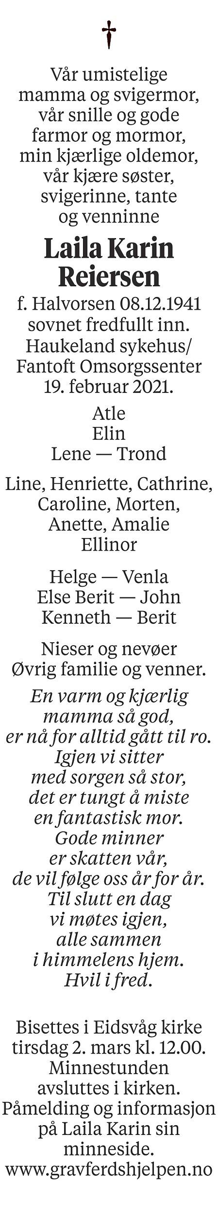 Laila Karin Reiersen Dødsannonse