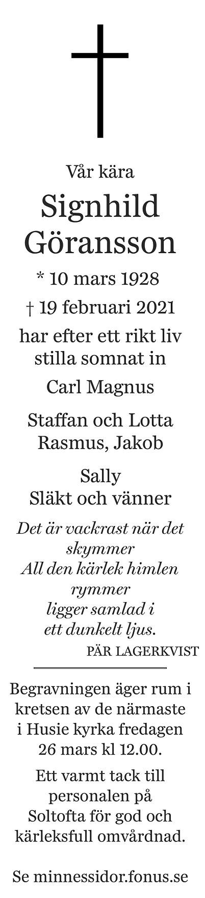 Signhild Göransson Death notice