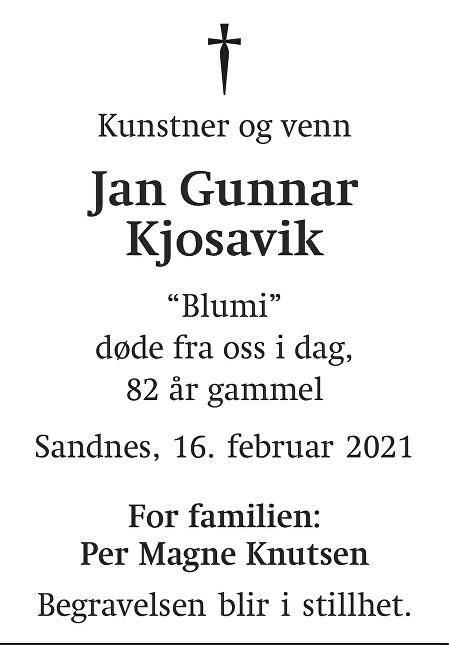 Jan Gunnar Kjosavik Dødsannonse