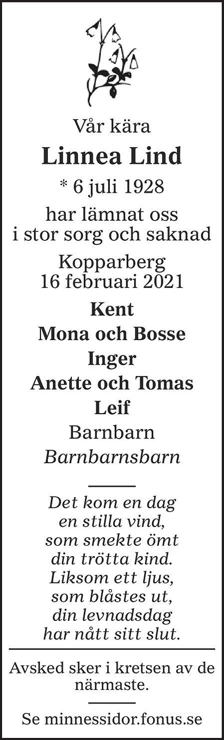 Dagny Linnea Lind Death notice