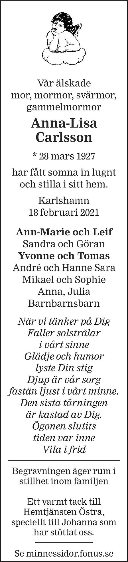 Anna-Lisa Carlsson Death notice