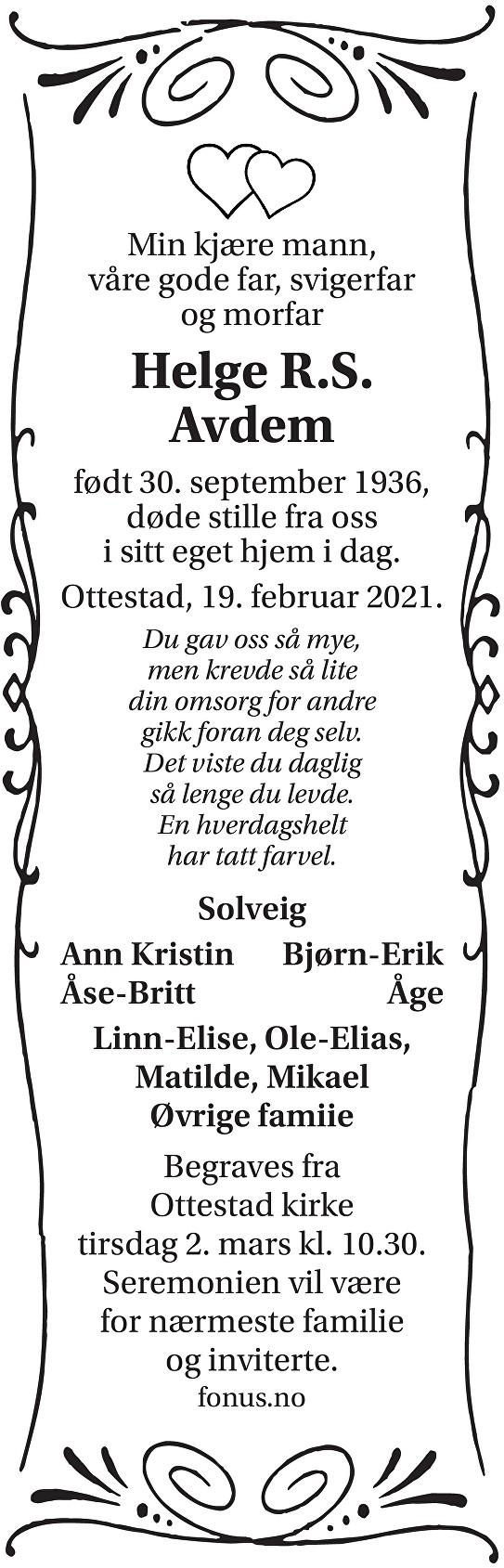 Helge Rolf Steinar Avdem Dødsannonse