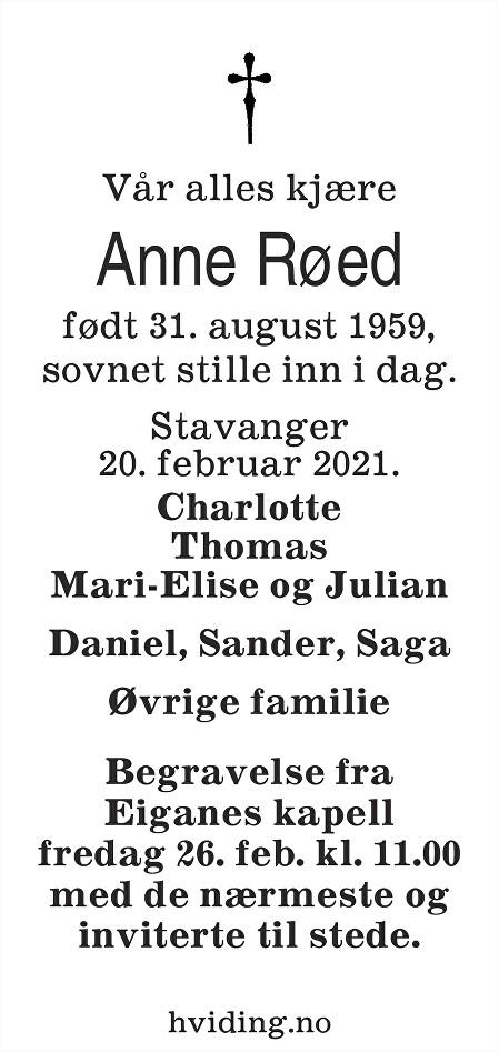 Anne Røed Dødsannonse
