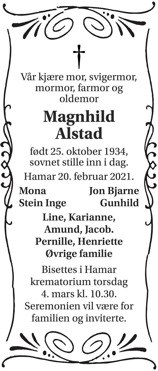 Magnhild Alstad Dødsannonse