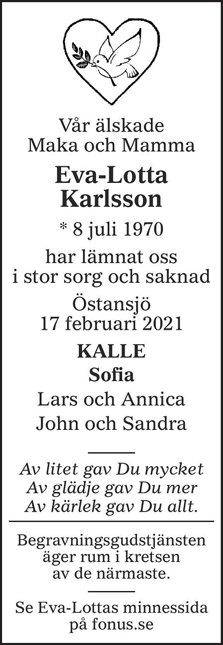 Eva-Lotta Karlsson Death notice