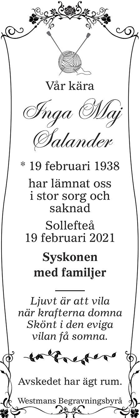 Inga Maj Salander Death notice
