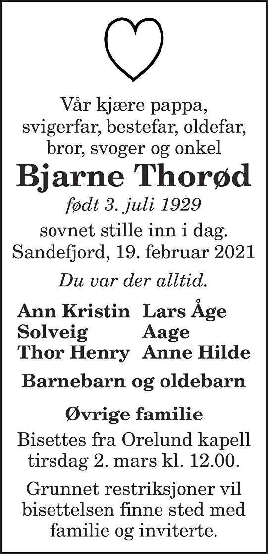 Bjarne Thorød Dødsannonse