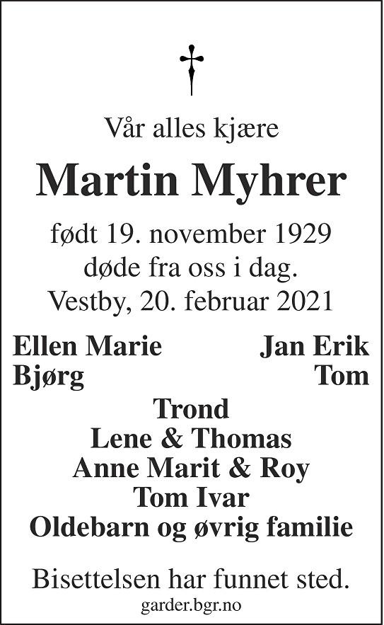 Martin Myhrer Dødsannonse
