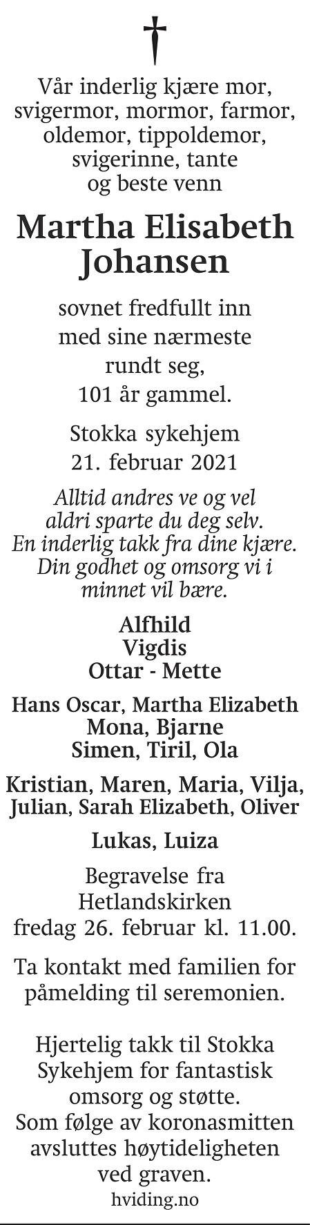 Martha Elisabeth Johansen Dødsannonse