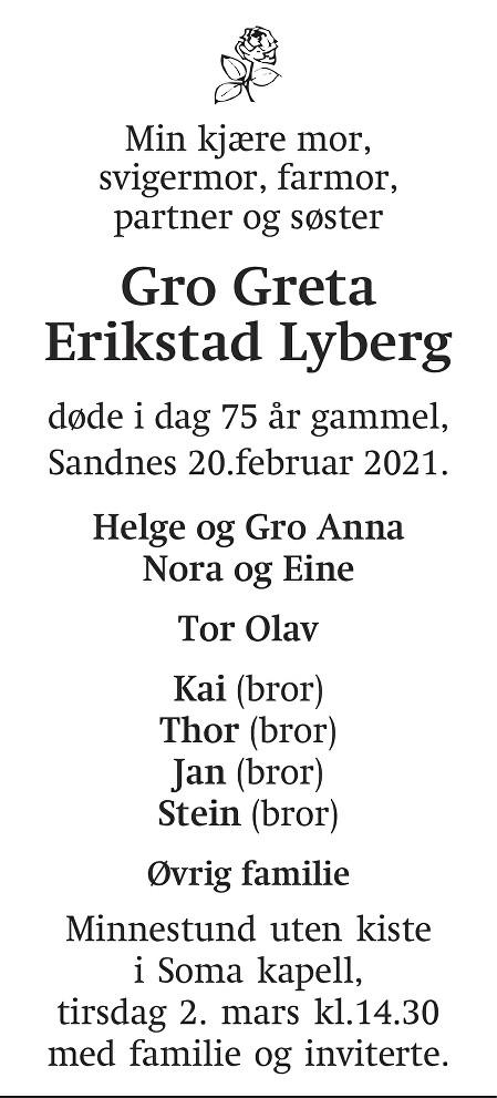 Gro Greta Erikstad Lyberg Dødsannonse