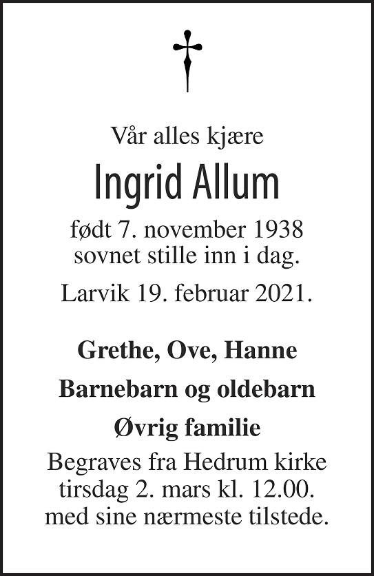 Ingrid Allum Dødsannonse