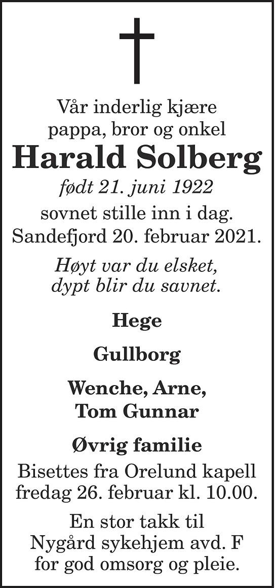 Harald Solberg Dødsannonse