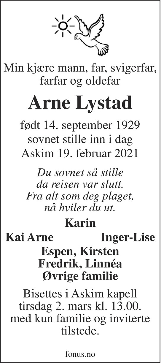Arne Lystad Dødsannonse