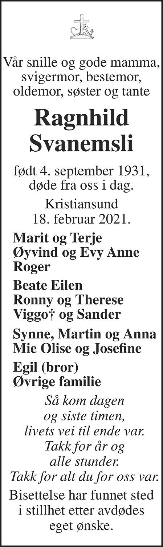 Ragnhild Svanemsli Dødsannonse