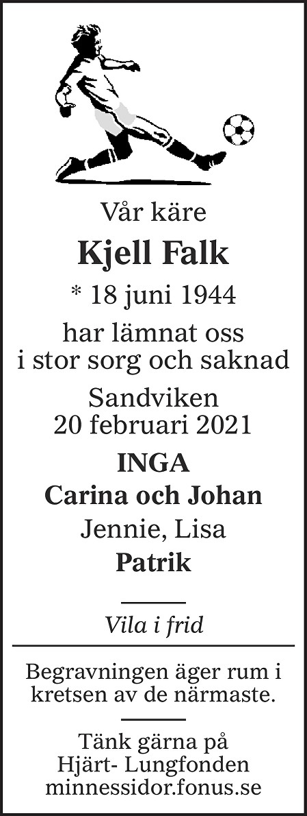 Kjell Falk Death notice