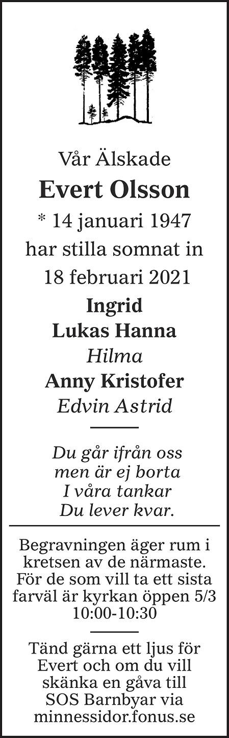 Evert Olsson Death notice