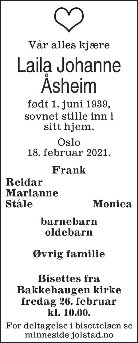 Laila Johanne Åsheim Dødsannonse