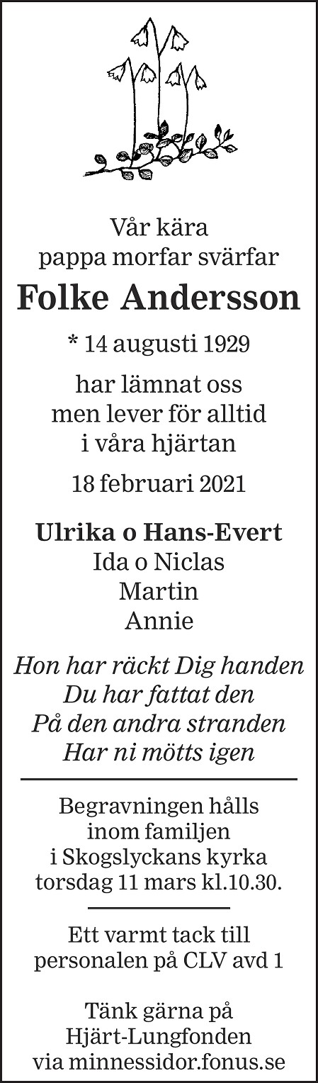Folke Andersson Death notice