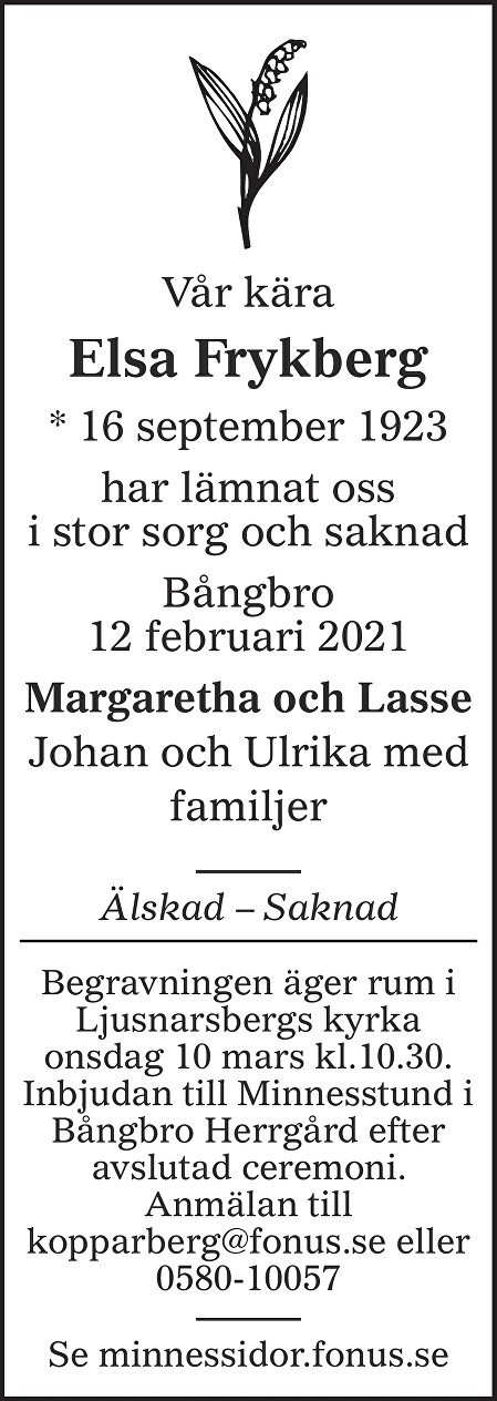 Elsa Maria Frykberg Death notice