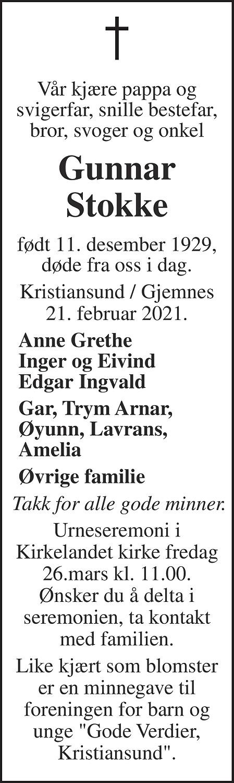 Gunnar Ingvaldsønn Stokke Dødsannonse
