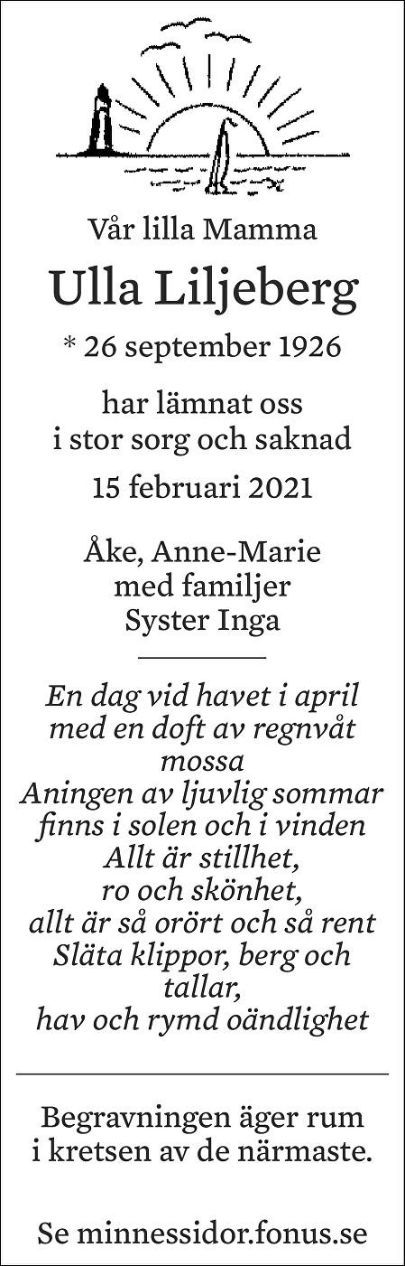 Ulla Liljeberg Death notice