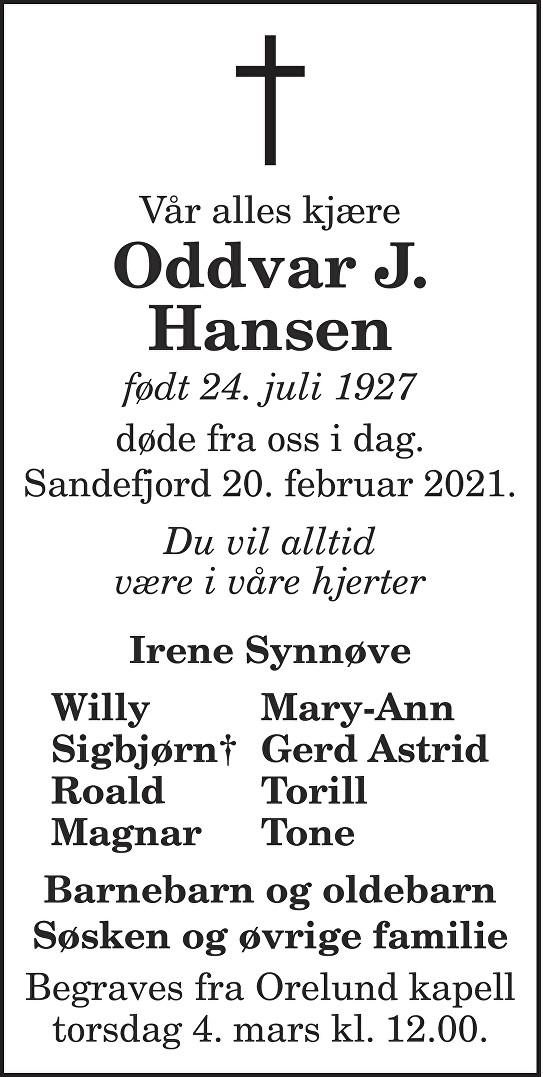 Oddvar J. Hansen Dødsannonse