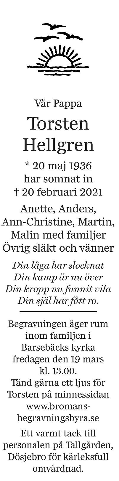 Torsten Hellgren Death notice