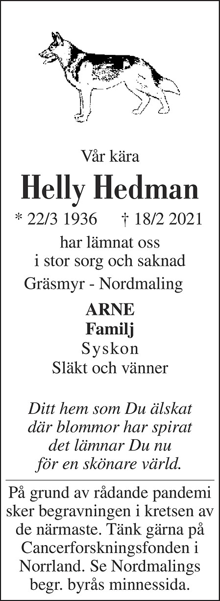 Helly Hedman Death notice