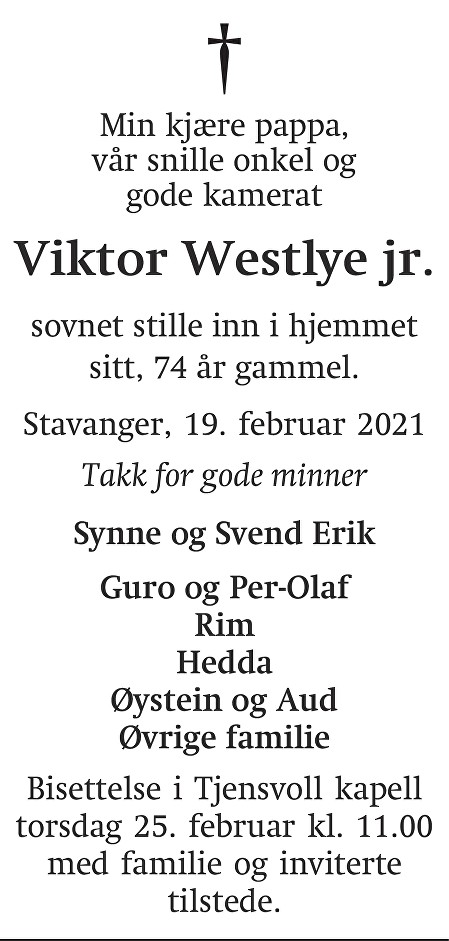 Viktor Westlye jr. Dødsannonse