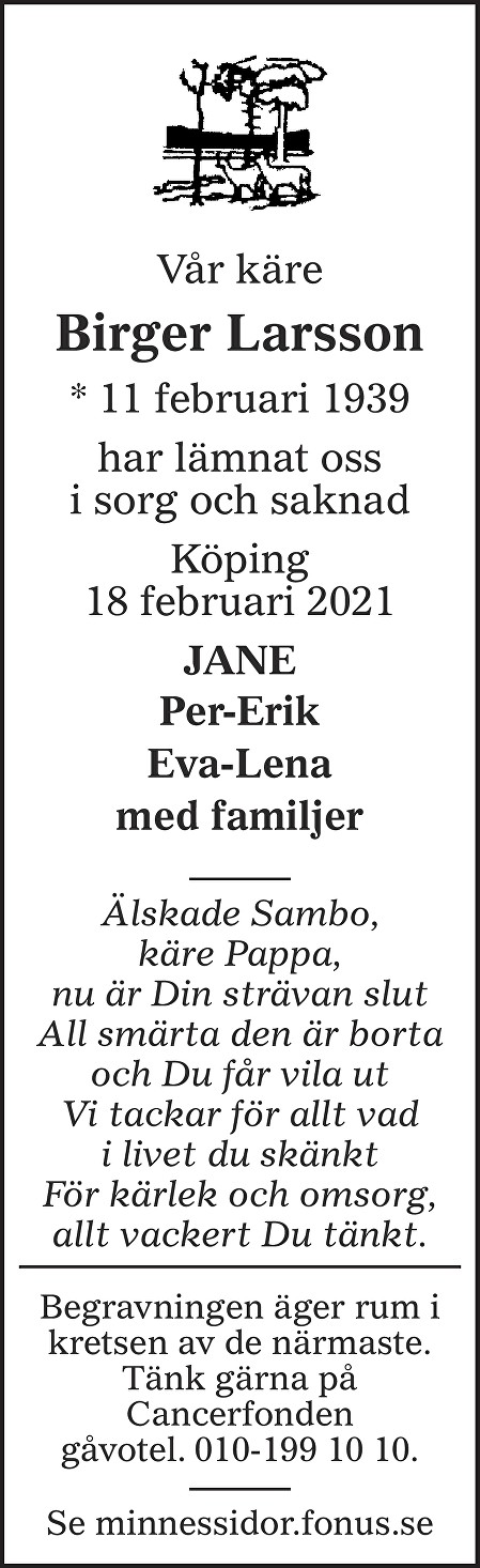 Birger Larsson Death notice
