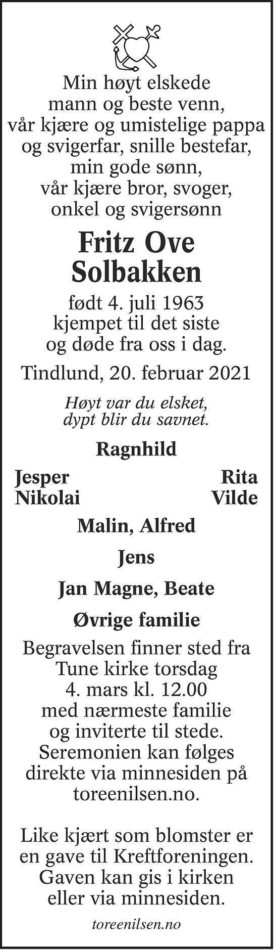 Fritz Ove Solbakken Dødsannonse
