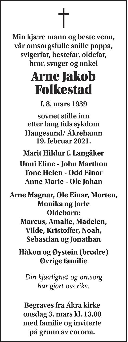 Arne Jakob Folkestad Dødsannonse