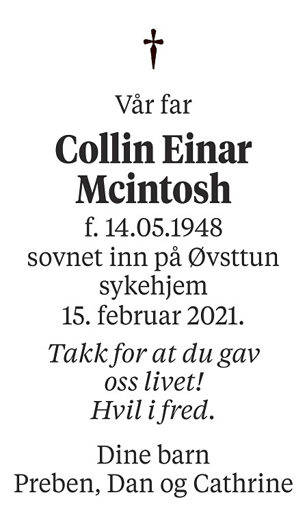 Collin Einar Mcintosh Solsvik Dødsannonse