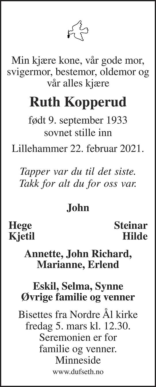 Ruth Kopperud Dødsannonse