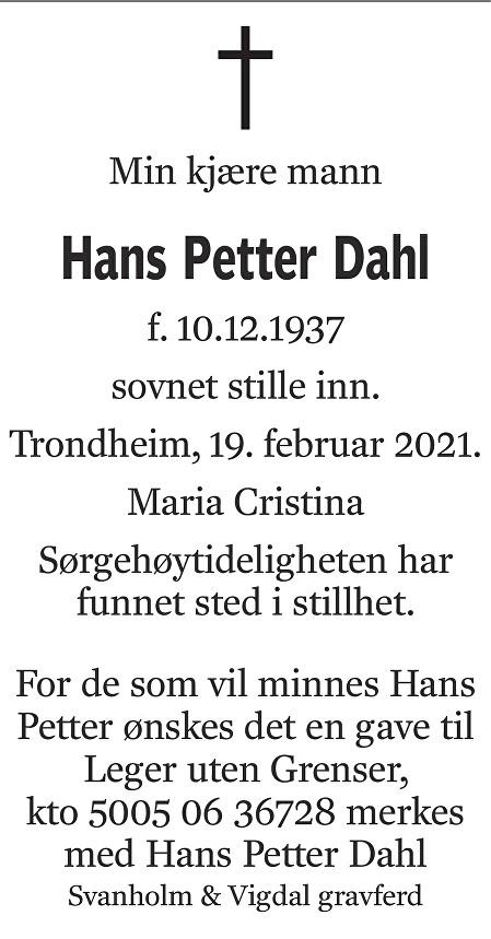 Hans Petter Dahl Dødsannonse